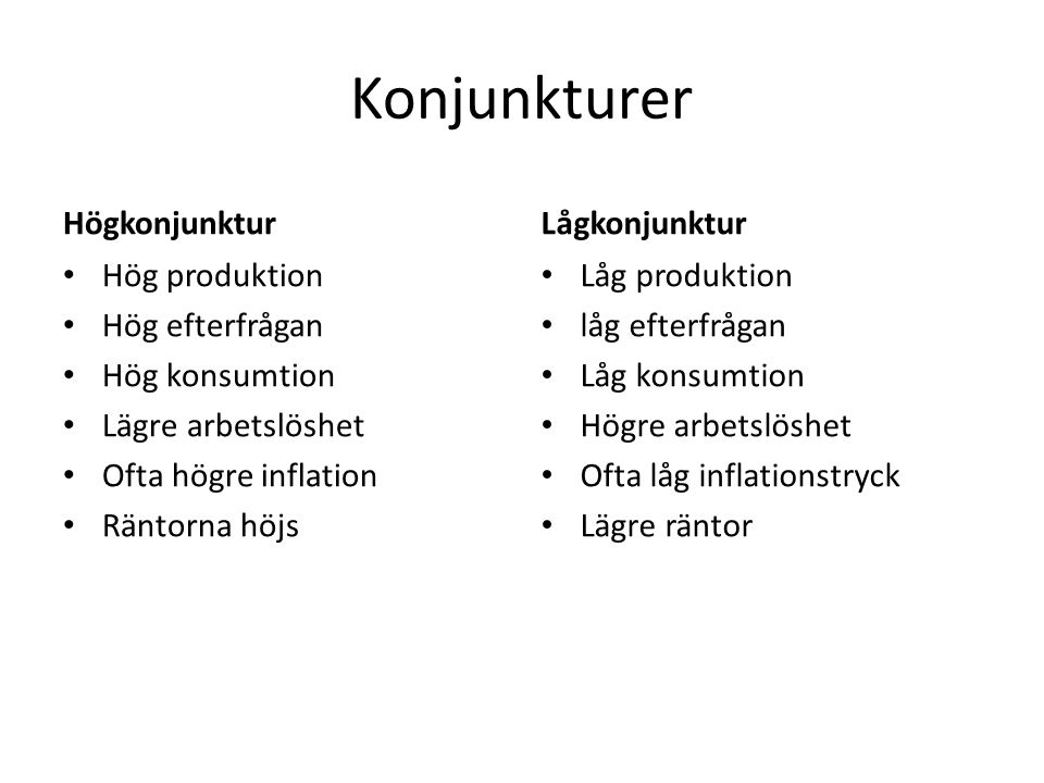 Konjunkturer Högkonjunktur Lågkonjunktur Hög produktion