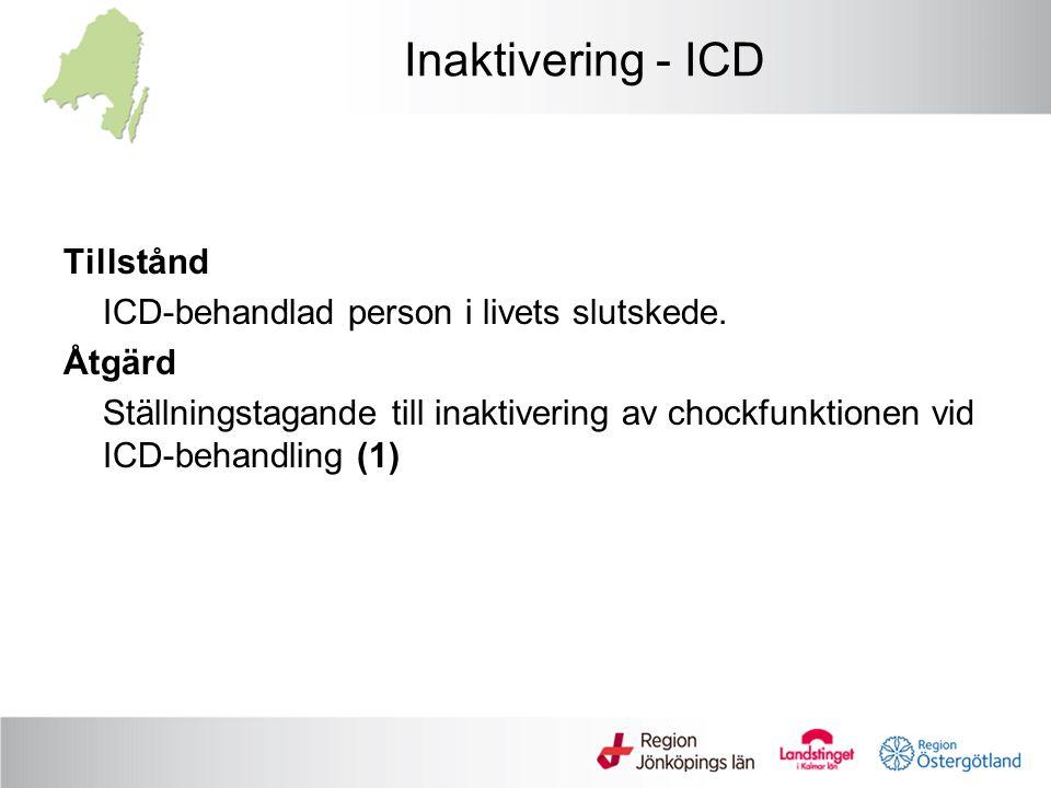 Inaktivering - ICD Tillstånd ICD-behandlad person i livets slutskede.