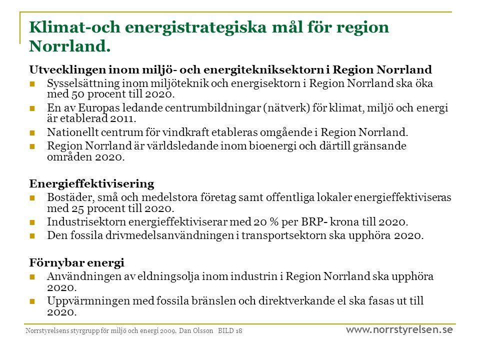 Klimat-och energistrategiska mål för region Norrland.