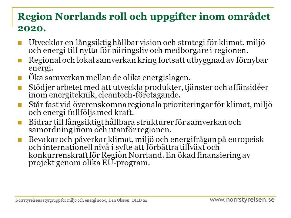 Region Norrlands roll och uppgifter inom området 2020.