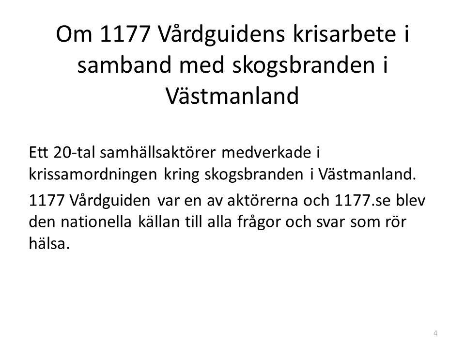 Om 1177 Vårdguidens krisarbete i samband med skogsbranden i Västmanland