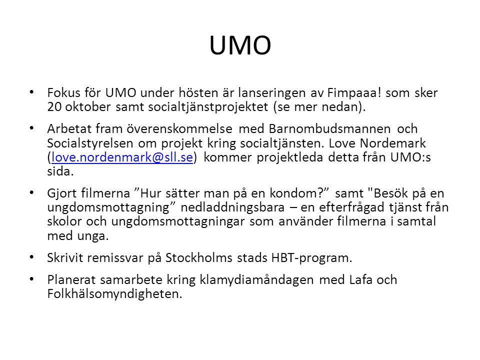 UMO Fokus för UMO under hösten är lanseringen av Fimpaaa! som sker 20 oktober samt socialtjänstprojektet (se mer nedan).
