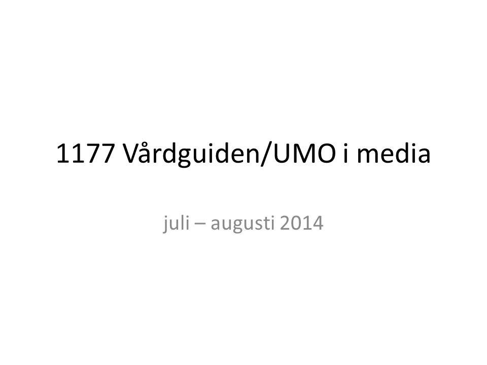 1177 Vårdguiden/UMO i media