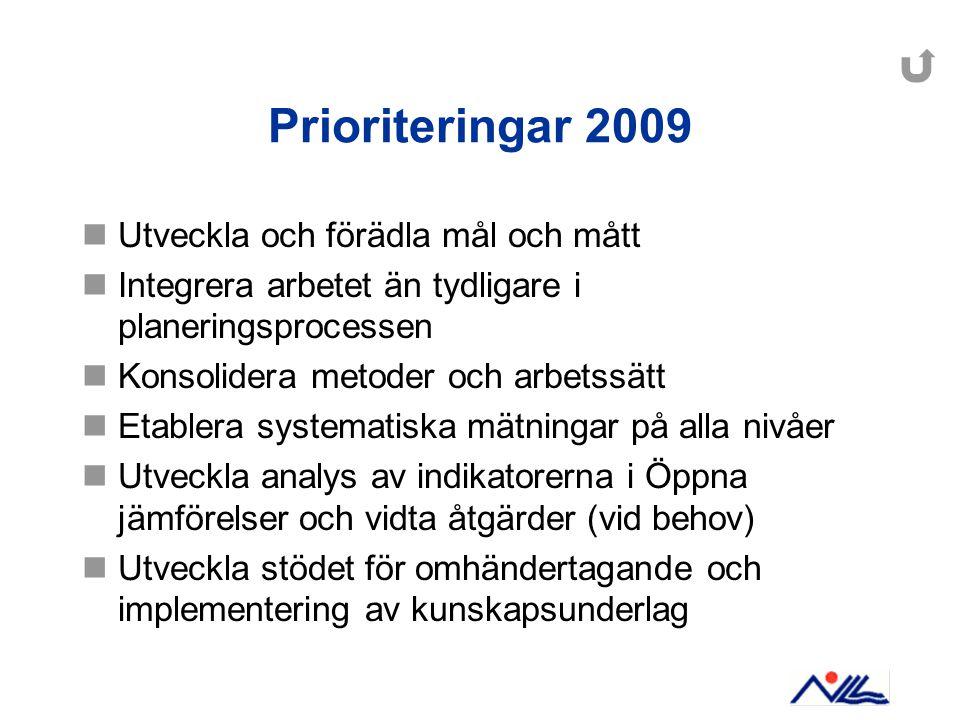 Prioriteringar 2009 Utveckla och förädla mål och mått