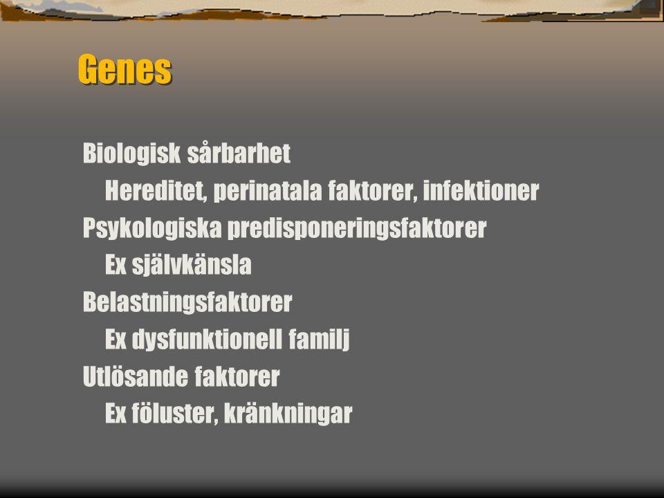 Genes Biologisk sårbarhet Hereditet, perinatala faktorer, infektioner