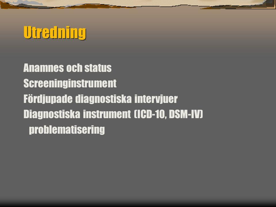Utredning Anamnes och status Screeninginstrument