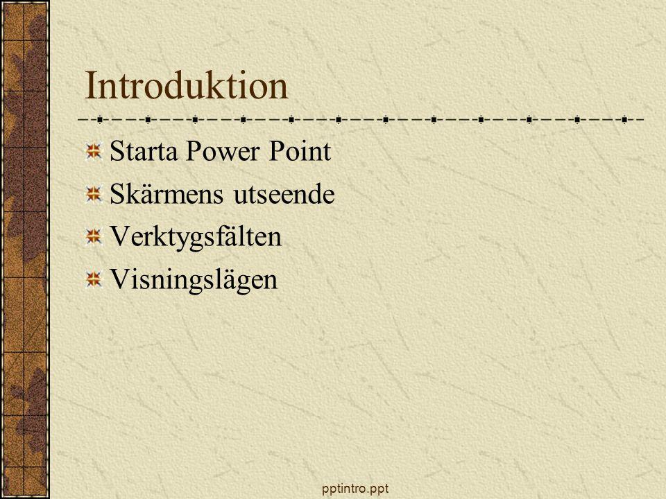 Introduktion Starta Power Point Skärmens utseende Verktygsfälten