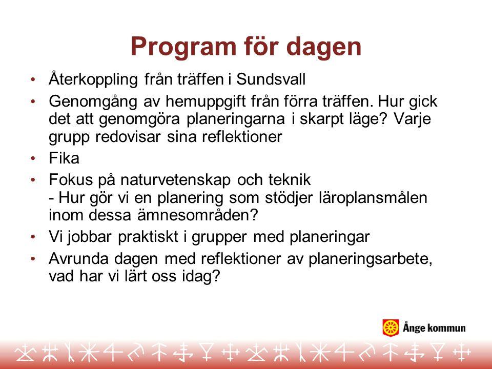 Program för dagen Återkoppling från träffen i Sundsvall