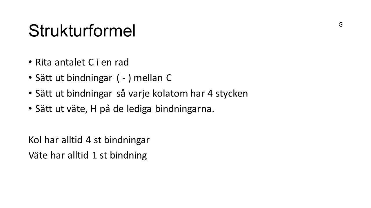 Strukturformel Rita antalet C i en rad