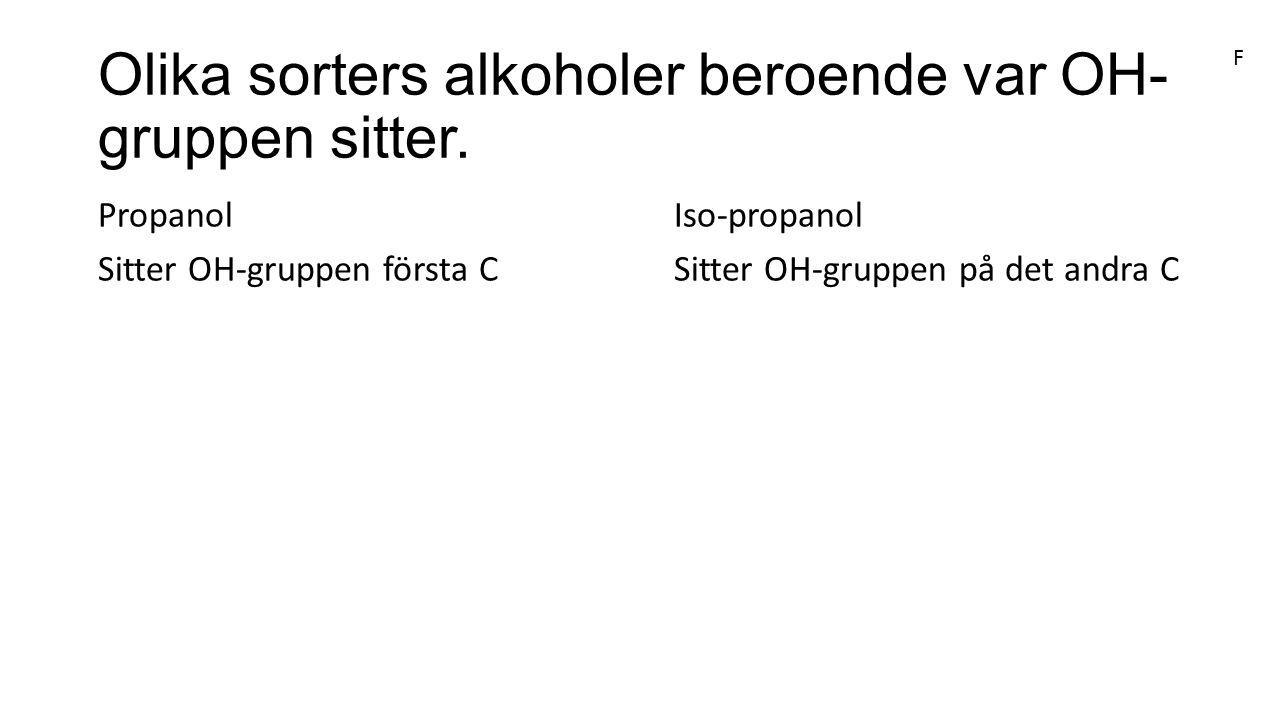 Olika sorters alkoholer beroende var OH-gruppen sitter.