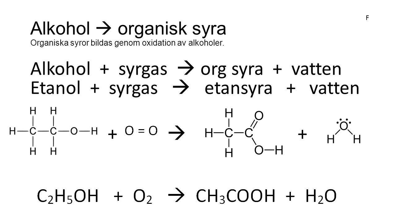 Alkohol  organisk syra Organiska syror bildas genom oxidation av alkoholer.