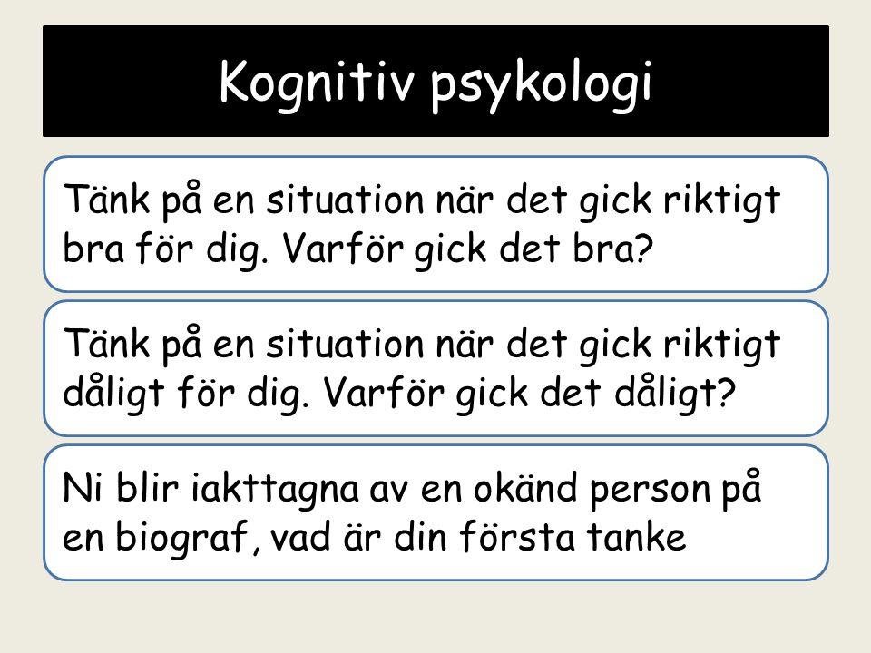Kognitiv Psykologi Tank Pa En Situation Nar Det Gick Riktigt