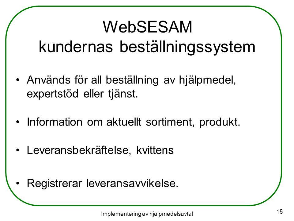 WebSESAM kundernas beställningssystem