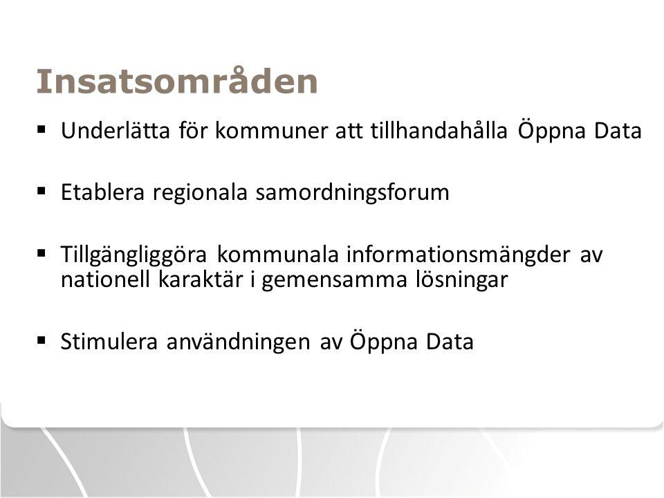 Insatsområden Underlätta för kommuner att tillhandahålla Öppna Data