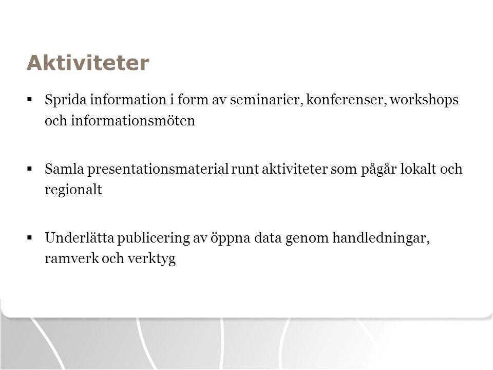 Aktiviteter Sprida information i form av seminarier, konferenser, workshops och informationsmöten.