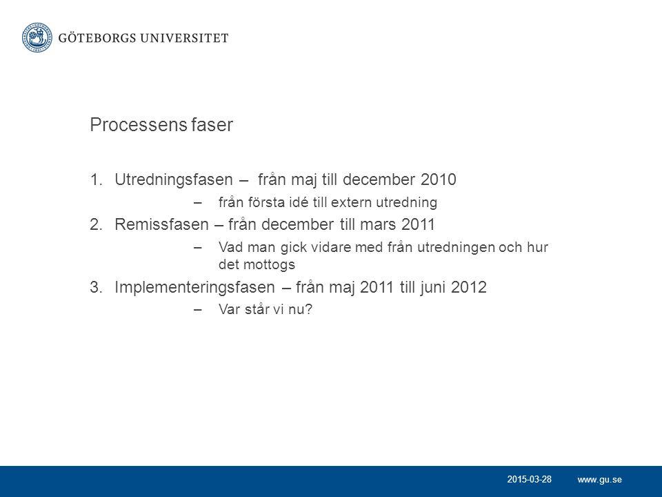Processens faser Utredningsfasen – från maj till december 2010
