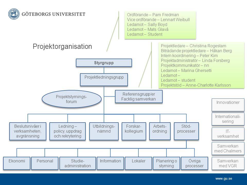 Projektorganisation Ordförande – Pam Fredman