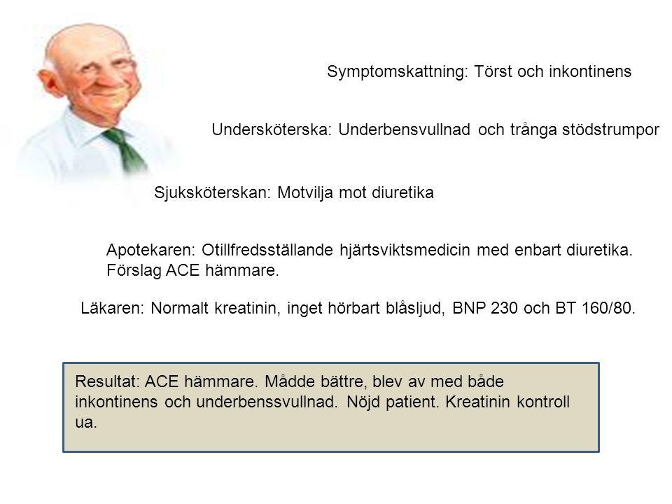 Symptomskattning: Törst och inkontinens