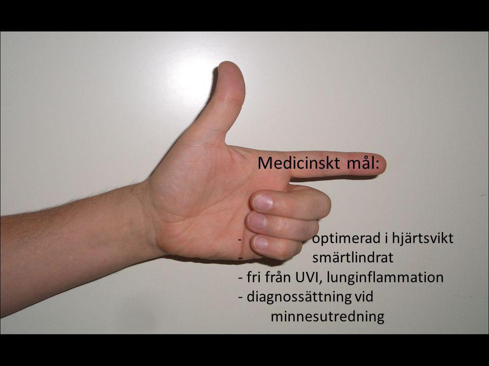Medicinskt mål: smärtlindrat fri från UVI, lunginflammation
