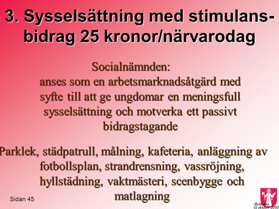 3. Sysselsättning med stimulans-bidrag 25 kronor/närvarodag