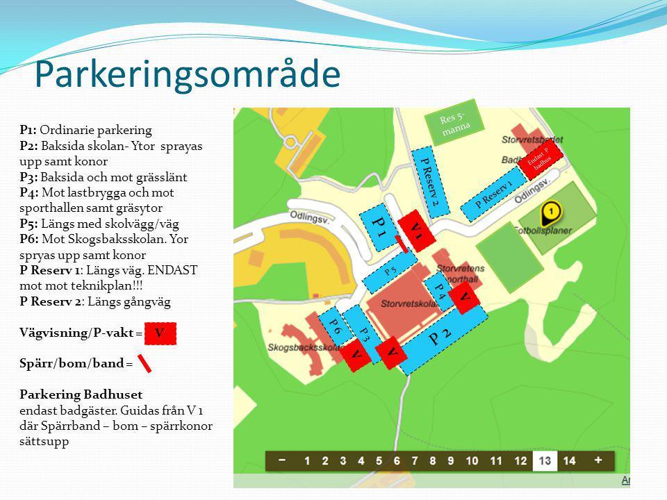 Parkeringsområde P 1 P 2 P1: Ordinarie parkering