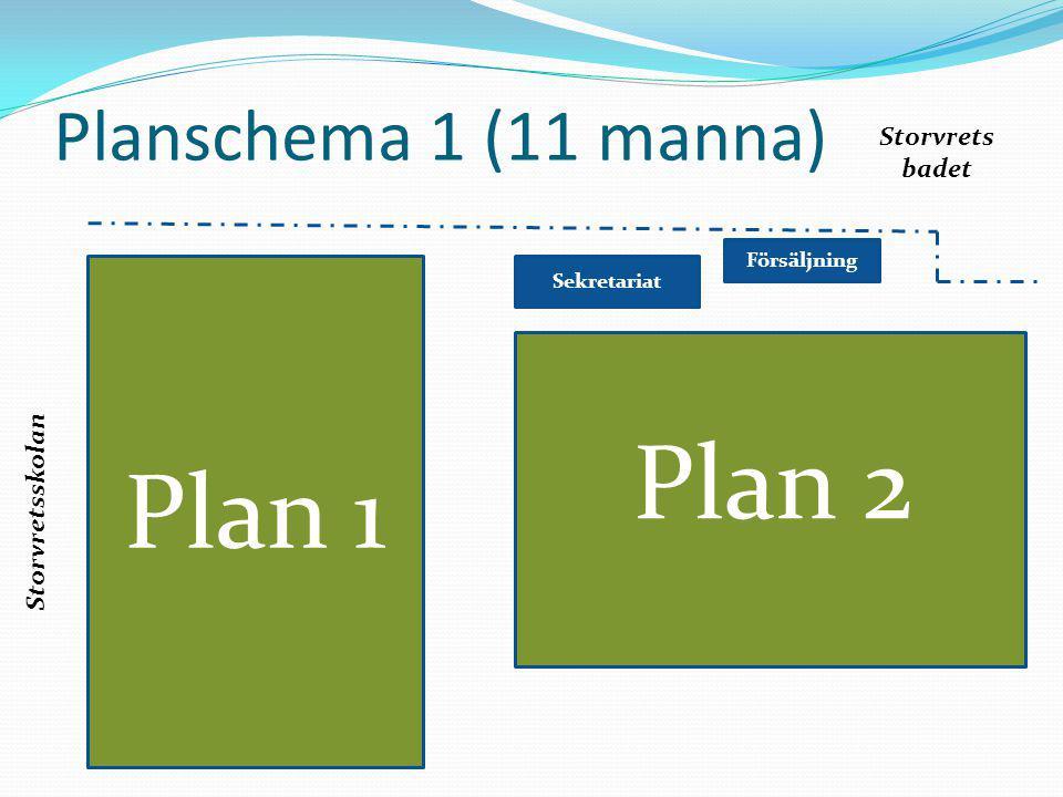 Plan 1 Plan 2 Planschema 1 (11 manna) Storvrets badet Storvretsskolan