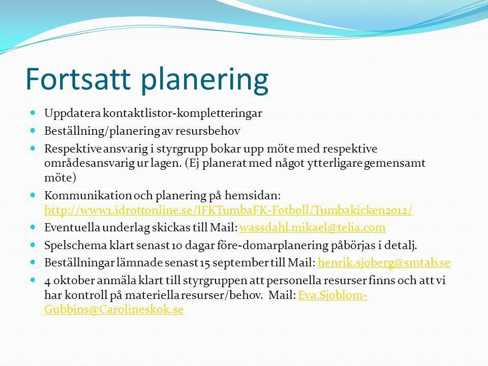 Fortsatt planering Uppdatera kontaktlistor-kompletteringar
