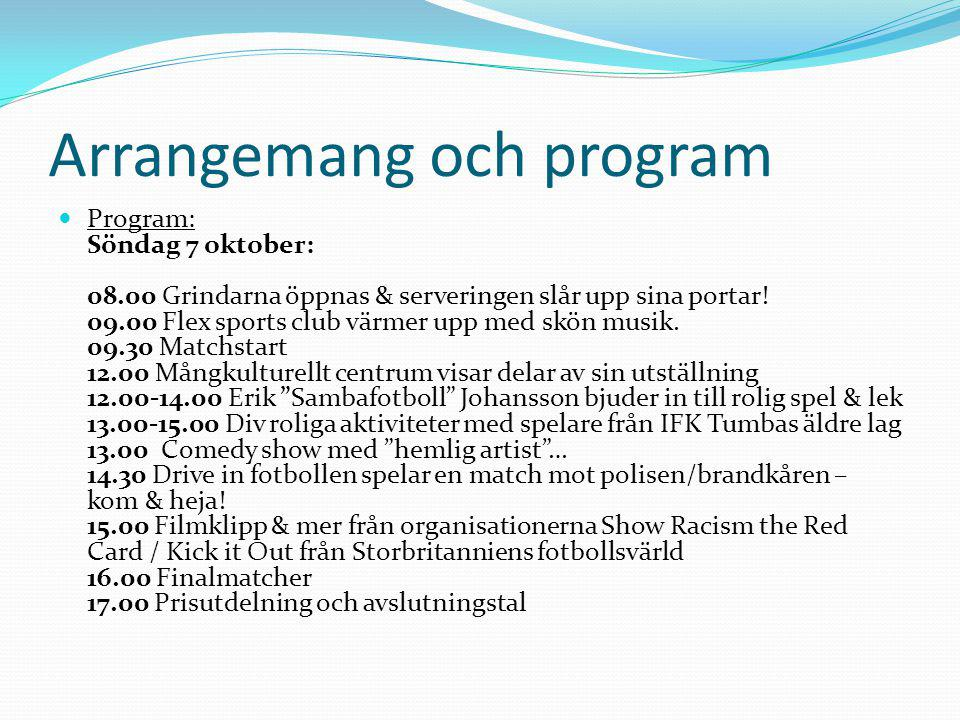 Arrangemang och program