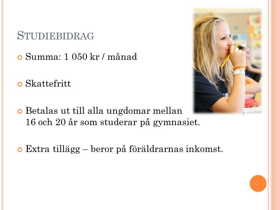 Studiebidrag Summa: 1 050 kr / månad Skattefritt