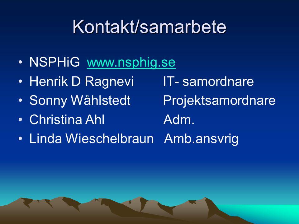 Kontakt/samarbete NSPHiG www.nsphig.se Henrik D Ragnevi IT- samordnare