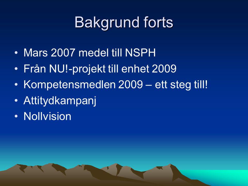 Bakgrund forts Mars 2007 medel till NSPH
