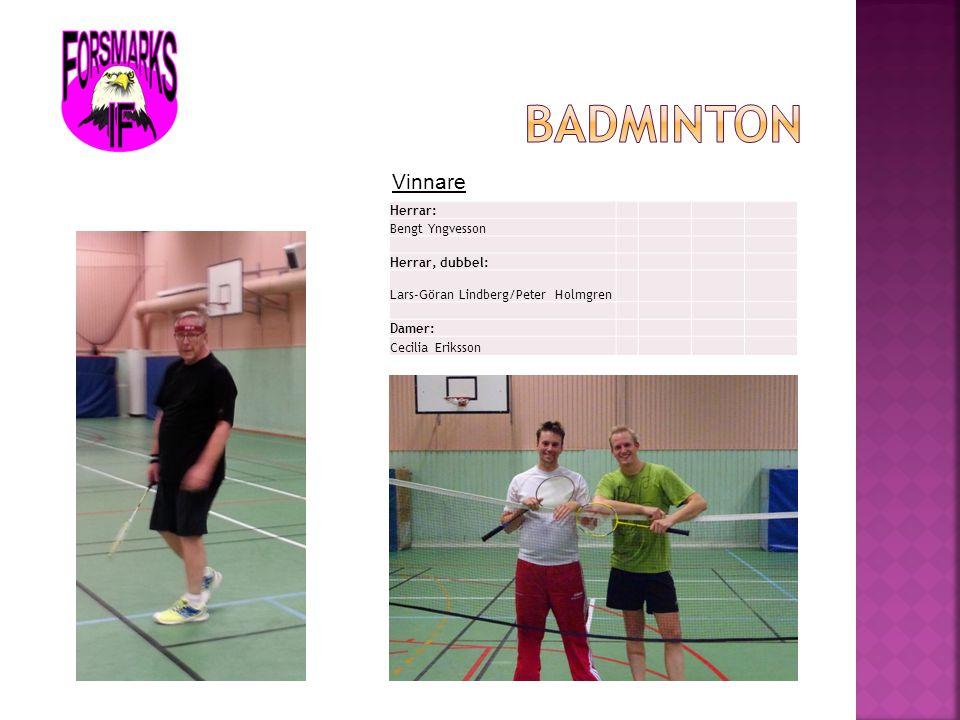 Badminton Vinnare Herrar: Bengt Yngvesson Herrar, dubbel: