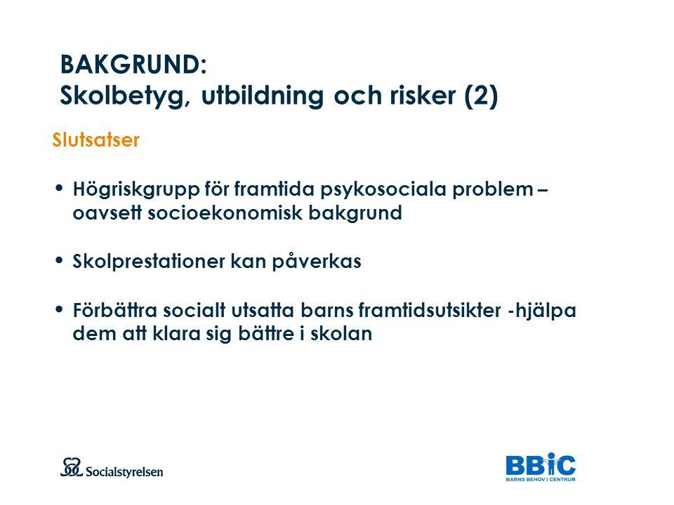 BAKGRUND: Skolbetyg, utbildning och risker (2)