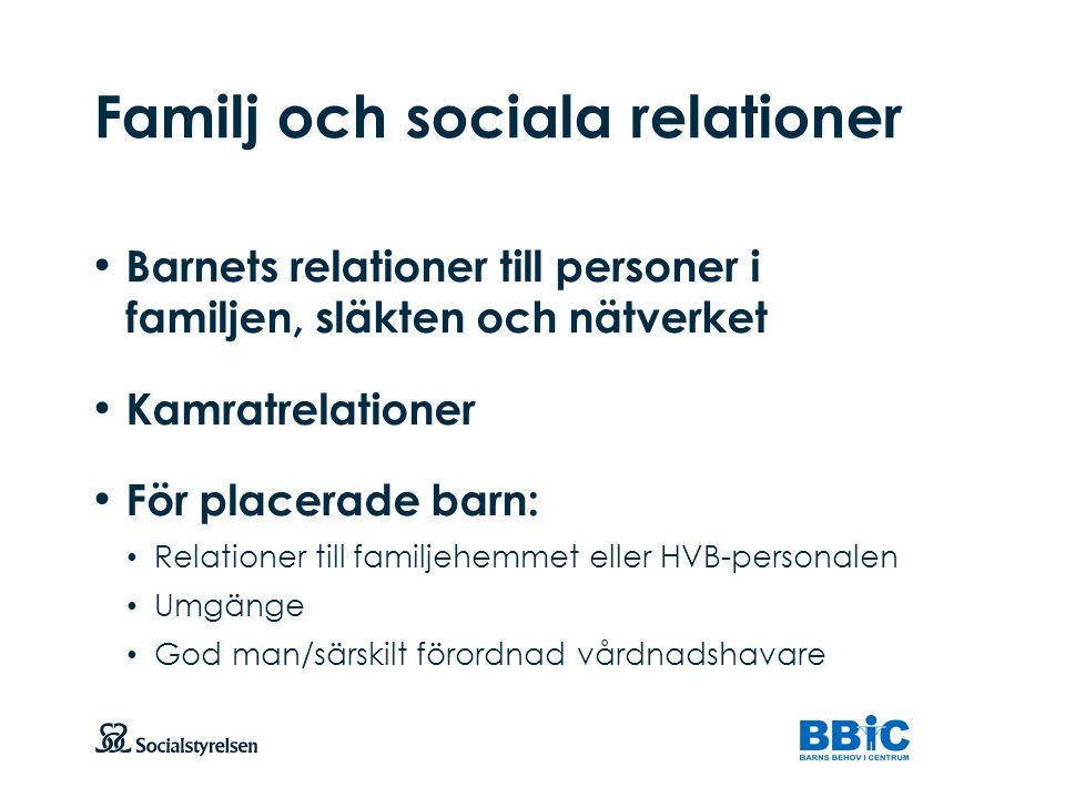 Familj och sociala relationer