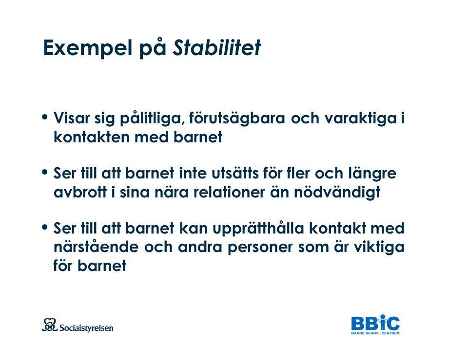 Exempel på Stabilitet Visar sig pålitliga, förutsägbara och varaktiga i kontakten med barnet.