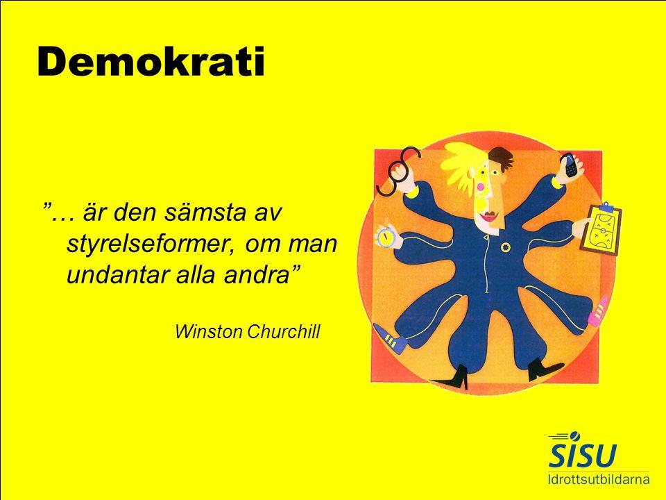 Demokrati … är den sämsta av styrelseformer, om man undantar alla andra Winston Churchill