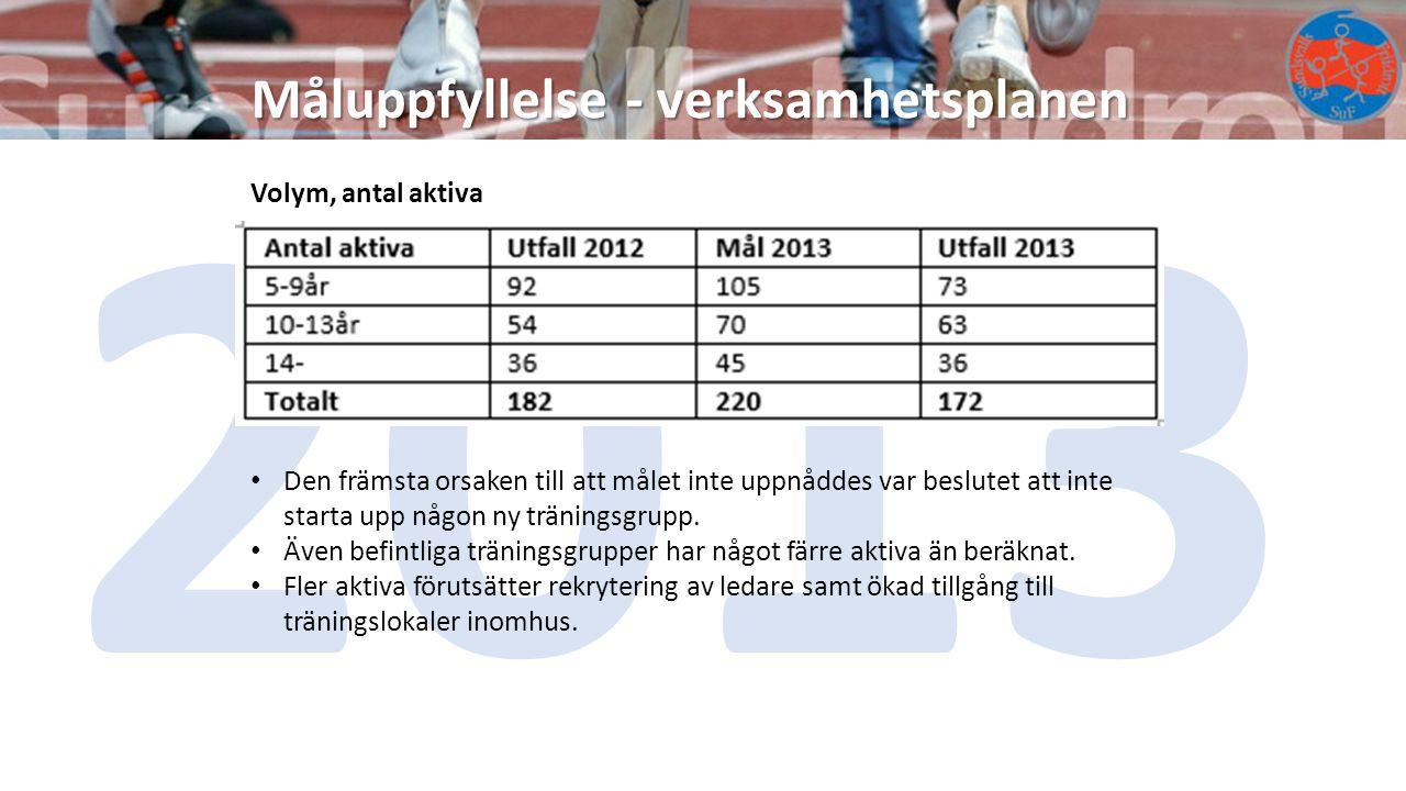 2013 Måluppfyllelse - verksamhetsplanen Volym, antal aktiva
