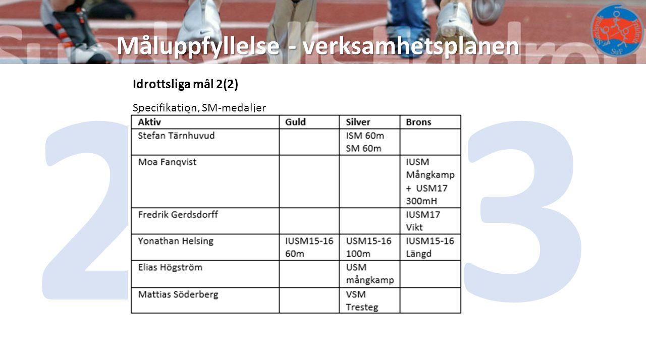 2013 Måluppfyllelse - verksamhetsplanen Idrottsliga mål 2(2)