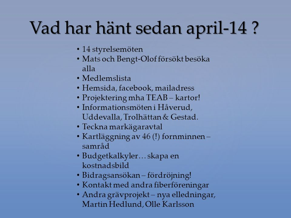 Vad har hänt sedan april-14