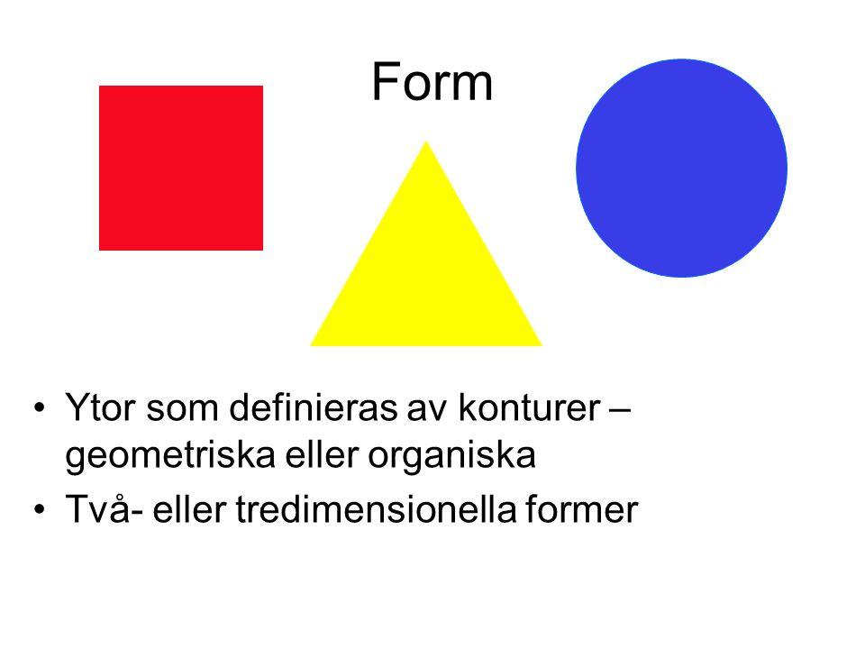 Form Ytor som definieras av konturer – geometriska eller organiska