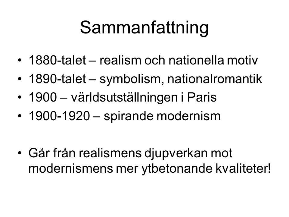 Sammanfattning 1880-talet – realism och nationella motiv
