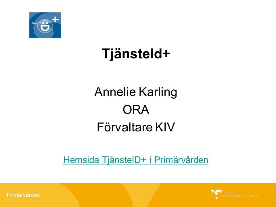 Hemsida TjänsteID+ i Primärvården