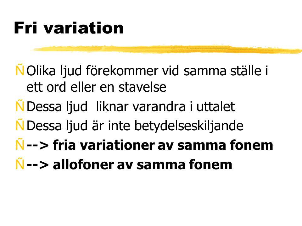 Fri variation Olika ljud förekommer vid samma ställe i ett ord eller en stavelse. Dessa ljud liknar varandra i uttalet.