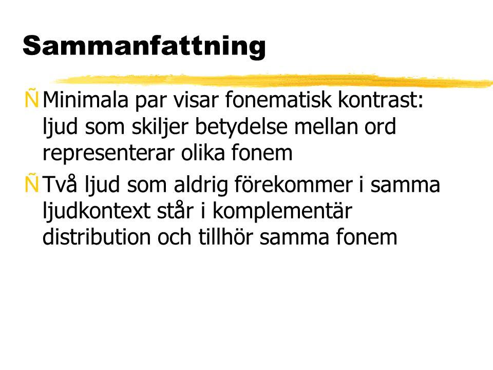 Sammanfattning Minimala par visar fonematisk kontrast: ljud som skiljer betydelse mellan ord representerar olika fonem.