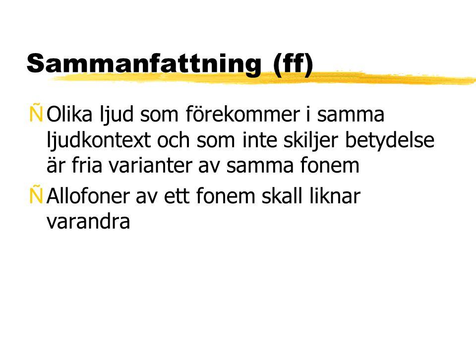 Sammanfattning (ff) Olika ljud som förekommer i samma ljudkontext och som inte skiljer betydelse är fria varianter av samma fonem.