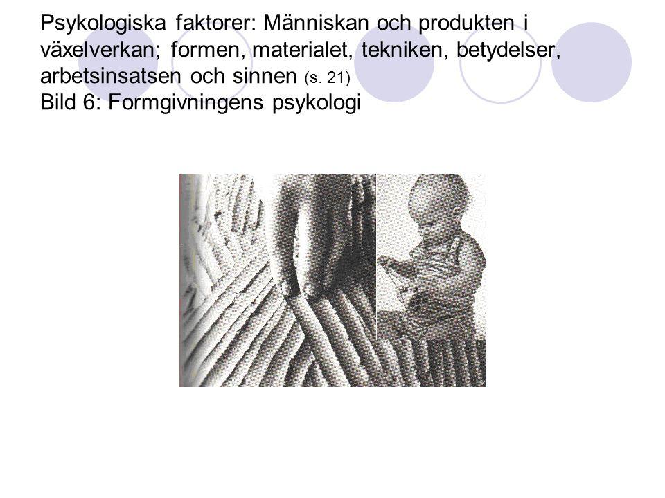 Psykologiska faktorer: Människan och produkten i växelverkan; formen, materialet, tekniken, betydelser, arbetsinsatsen och sinnen (s.