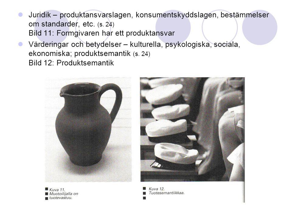 Juridik – produktansvarslagen, konsumentskyddslagen, bestämmelser om standarder, etc. (s. 24) Bild 11: Formgivaren har ett produktansvar