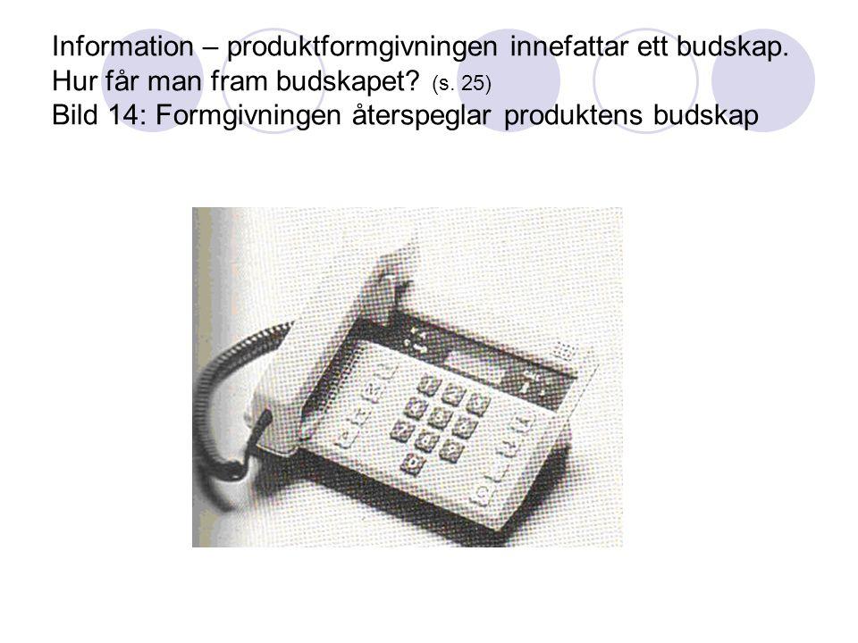 Information – produktformgivningen innefattar ett budskap