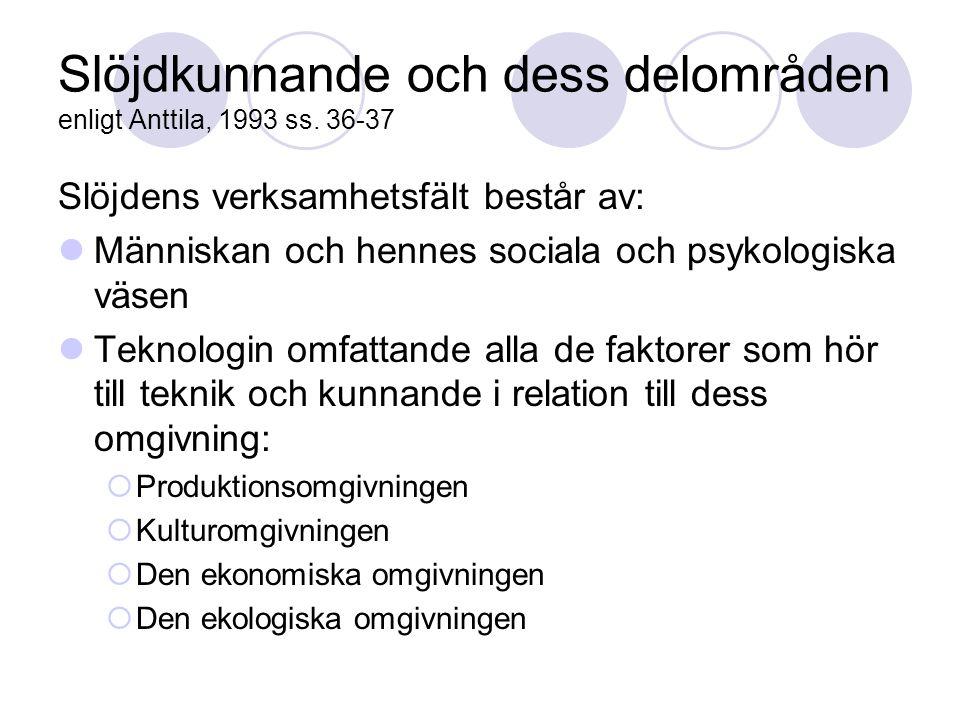 Slöjdkunnande och dess delområden enligt Anttila, 1993 ss. 36-37