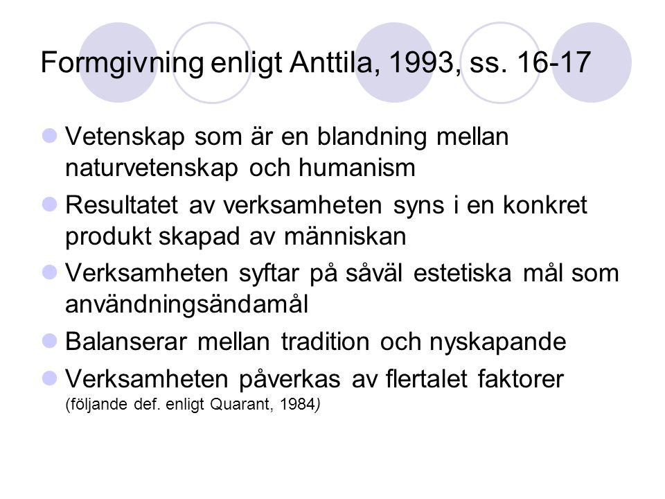 Formgivning enligt Anttila, 1993, ss. 16-17